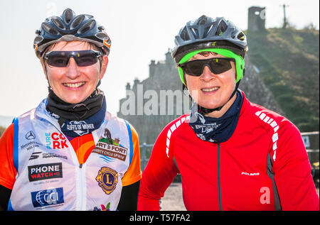 Crosshaven, County Cork, Ireland. 22nd April, 2019. /Ann Keane, Inniscarra and Ann Cashman, Killarney at the starting line of the Fort 2 Fort Charity Cycle at Camden Fort Meagher Crosshaven Co. Cork. The cycle is to help raise funds for the Mercy University Hospital Foundation, four Cork City and County Lions Clubs, and Camden Fort Meagher Restoration. Credit: David Creedon/Alamy Live News - Stock Photo