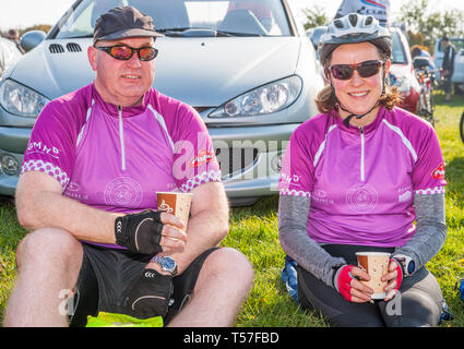 Crosshaven, County Cork, Ireland. 22nd April, 2019. /Michael Carrington, Cork City and Mary Gurrie, Dublin at the starting line of the Fort 2 Fort Charity Cycle at Camden Fort Meagher Crosshaven Co. Cork. The cycle is to help raise funds for the Mercy University Hospital Foundation, four Cork City and County Lions Clubs, and Camden Fort Meagher Restoration. Credit: David Creedon/Alamy Live News - Stock Photo