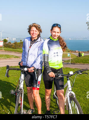 Crosshaven, County Cork, Ireland. 22nd April, 2019.  /Lena Pujade and Heike Dornig from Blackrock at the starting line of the Fort 2 Fort Charity Cycle at Camden Fort Meagher Crosshaven Co. Cork. The cycle is to help raise funds for the Mercy University Hospital Foundation, four Cork City and County Lions Clubs, and Camden Fort Meagher Restoration. Credit: David Creedon/Alamy Live News - Stock Photo
