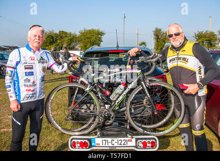 Crosshaven, County Cork, Ireland. 22nd April, 2019. /Paddy Horgan, Cobh and Richard White, Glanmire at the starting line of the Fort 2 Fort Charity Cycle at Camden Fort Meagher Crosshaven Co. Cork. The cycle is to help raise funds for the Mercy University Hospital Foundation, four Cork City and County Lions Clubs, and Camden Fort Meagher Restoration. Credit: David Creedon/Alamy Live News - Stock Photo