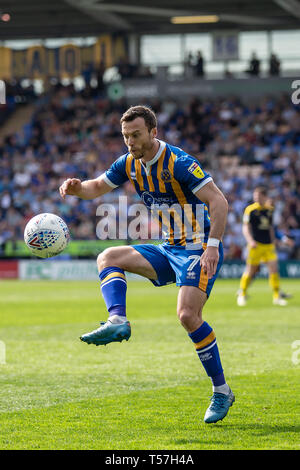 Shrewsbury, UK. 22nd Apr, 2019. Shaun Whalley of Shrewsbury Town during the Sky Bet League 1 match between Shrewsbury Town and Oxford United at Greenhous Meadow, Shrewsbury. (Credit: Alan Hayward | MI News) Editorial use only, license required for commercial use. No use in betting, games or a single club/league/player publications. Photograph may only be used for newspaper and/or magazine editorial purposes. Credit: MI News & Sport /Alamy Live News - Stock Photo