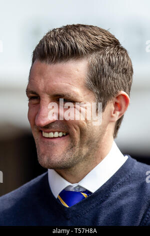 Shrewsbury, UK. 22nd Apr, 2019. Sam Ricketts Manager of Shrewsbury Town during the Sky Bet League 1 match between Shrewsbury Town and Oxford United at Greenhous Meadow, Shrewsbury. (Credit: Alan Hayward | MI News) Editorial use only, license required for commercial use. No use in betting, games or a single club/league/player publications. Photograph may only be used for newspaper and/or magazine editorial purposes. Credit: MI News & Sport /Alamy Live News - Stock Photo