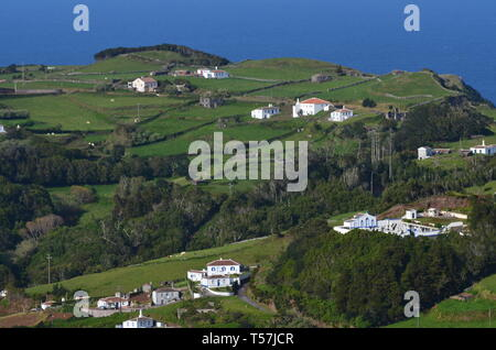 Traditional houses and rural landscapes in Santa Barbara, a small parish in the island of Santa Maria, Azores archipelago - Stock Photo