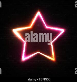 Shining star shape frame on black brick wall. - Stock Photo
