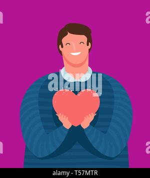 Cute guy holds tenderly a heart in his hands. Love, friendship concept. Cartoon vector illustration - Stock Photo