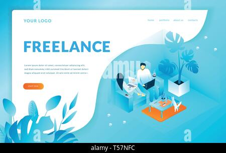 Man and woman sitting on the armchairs works with computer, Freelance. Modern template for landing page. Isometric vector illustration - Stock Photo