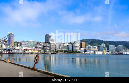'Solace in the Wind' sculpture and skyline, Wellington, North Island, New Zealand - Stock Photo