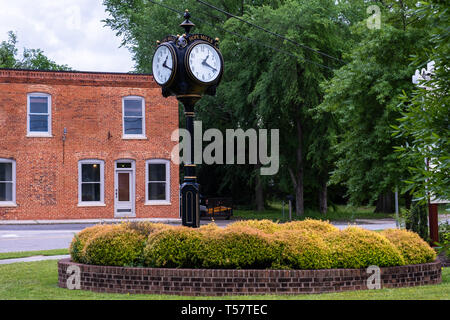 HOPE MILLS, NC - CIRCA April 2019 : Town Clock on Main Street - Stock Photo