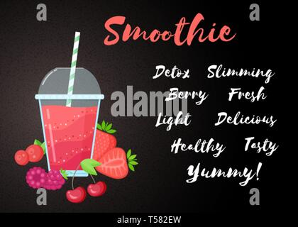 Red berries smoothie vitamin drink vector illustration. Fresh smoothies drink with red layers in glass with cup and straw. Raw pineapple fruit and sign Smoothie for fitness landing page concept - Stock Photo