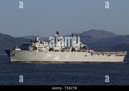 HMS Albion (L14), an Albion-class amphibious assault ship operated by the Royal Navy, passing Gourock at the start of Exercise Joint Warrior 19-1. - Stock Photo