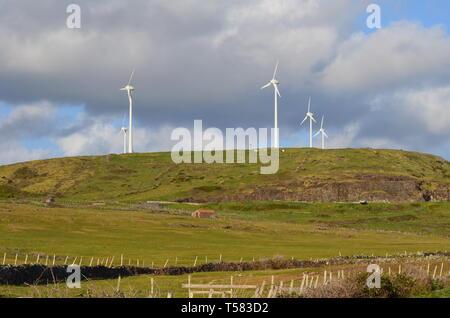 Wind turbines in Santa Maria island, Azores archipelago - Stock Photo