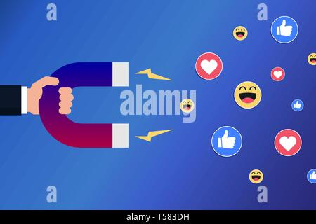 Hand with a magnet attracting likes, smileys and hearts. Positive feedback, marketing on social media concept. Influencer. Vector illustration, flat. - Stock Photo