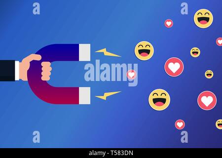 Hand with a magnet attracting smileys and hearts. Positive feedback, marketing on social media concept. Influencer. Vector illustration, flat style. - Stock Photo