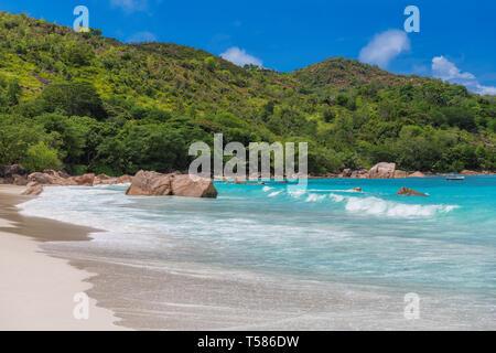 Beautiful beach on Seychelles. Anse Lazio beach, Praslin island. - Stock Photo