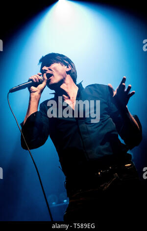 Brett Anderson of Suede performs onstage at the O2 Academy, Newcastle on 15th April 2019, the opening night of their 2019 UK tour. - Stock Photo