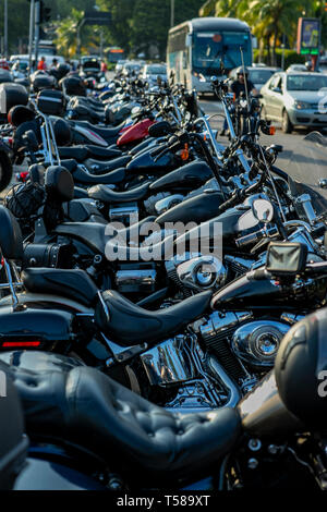 Powerful and beautiful motorcycles. Motorcycles and accessories in a modern motorcycle custom store. Biker stuff. - Stock Photo