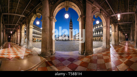 Venice, Italy. Panoramic cityscape image of St. Mark's square in Venice, Italy during sunrise. - Stock Photo