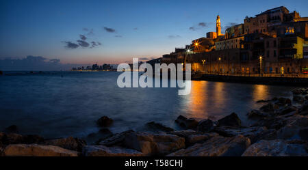 Beautiful panoramic view of a Port of Jaffa during a colorful sunrise. Taken in Tel Aviv-Yafo, Israel.