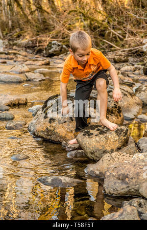 Olallie State Park, near North Bend, Washington, USA.  Seven year old boy climbing on rocks in the north fork of the Snoqualmie River.   (MR) - Stock Photo