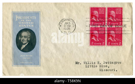 US historical envelope: cover with cachet President of the United States John Adams 1797-1801, four red postage stamps two cents,  cancellation 1938 - Stock Photo