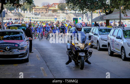 Departure of the annual Easter Monday bicycletour from Zadarto Vir, Zadar Croatia - Stock Photo