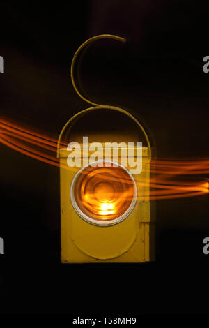 old style paraffin warning lamp - Stock Photo