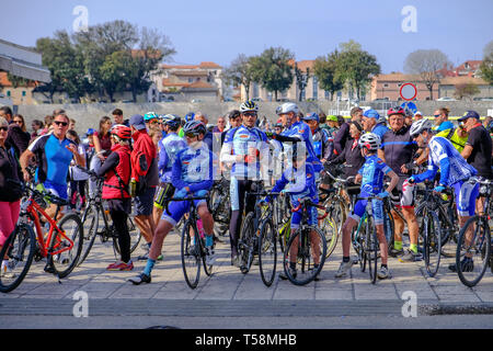 Departure of the annual Easter Monday bicycle tour  from Zadar to Vir,  Zadar Croatia - Stock Photo