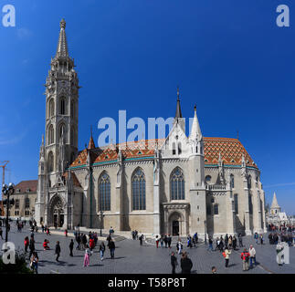 BUDAPEST, HUNGARY - April 16, 2019: Matthias Church is a Roman Catholic church, in the Buda's Castle District, Budapest Hungary - Stock Photo