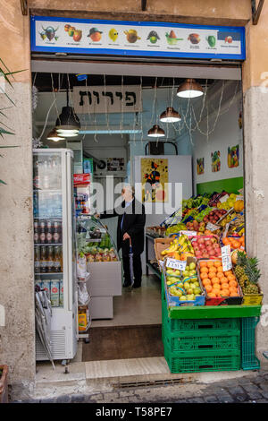 Grocery store in the Jewish Quarter, Rome, Italy - Stock Photo
