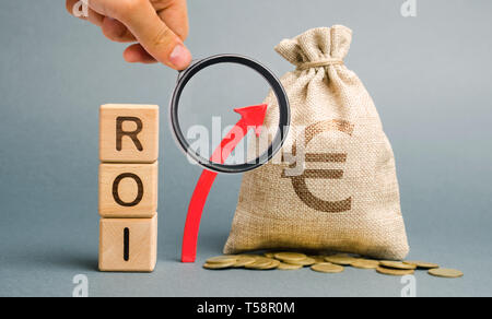 Wooden blocks with the word ROI and the up arrow with the money bag. High level of business profitability. Return on investment, invested capital, rat - Stock Photo