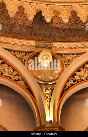 Sintra, Lisbon, Portugal- March 17, 2019: Beautiful and vintage sculptures and busts in the cupola inside Monserrate palace in Sintra, Lisbon, Portuga - Stock Photo