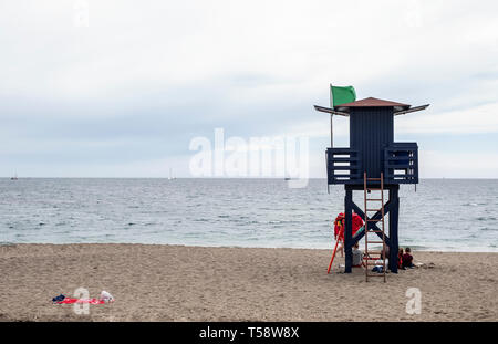lifeguards surveillance booth on a Spanish beach - Stock Photo