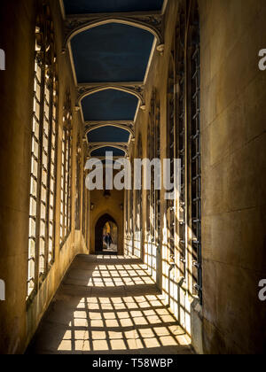 An inside view of the Bridge of Sighs in St Johns College Cambridge, part of the University of Cambridge. Named after the famous Venetian bridge - Stock Photo