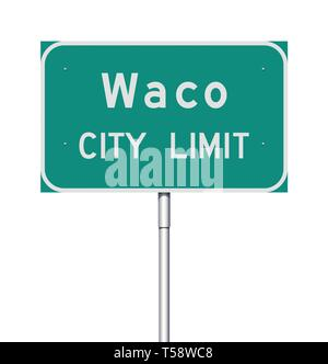 Vector illustration of  the Waco City Limit green road sign - Stock Photo