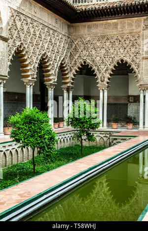 Interior patio, Real Alcazar de Sevilla (Royal Palace of Seville), Seville, Spain - Stock Photo