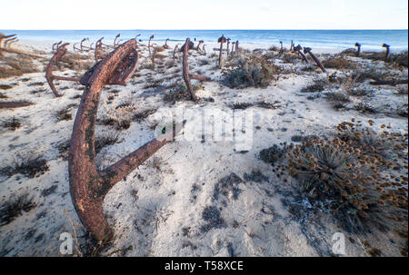 Cemetery of Anchors. Memorial monument to dead fishermen of tuna - Stock Photo