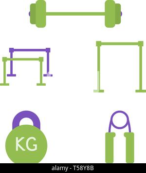 barbell, horizontal bar, parallel bars vector flat icons, sports equipment vector illustration - Stock Photo
