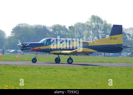 A 2004 built Pacific Aerospace 750 XL in use at Skydive North West in Flookburgh, Lake District. - Stock Photo
