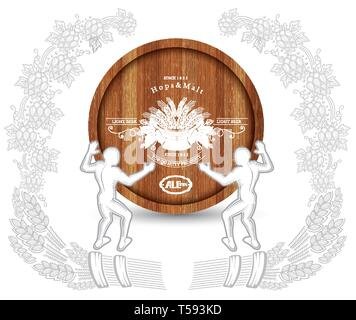 Two abstract man hold realistic barrel in the center of wreath from hop cone and spica. Beer illustration on white - Stock Photo