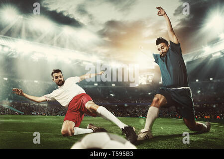 Two caucasian fit active men as soccer players fighting with ball at stadium. Game concept. Competitive spirit. 3D model of the stadium was created by me - the author. - Stock Photo
