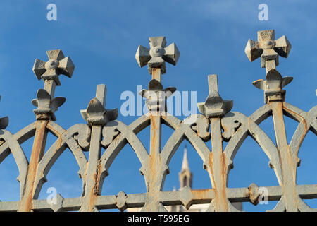 Milan, Lombardy, Italy: exterior of the historic cemetery known as Cimitero Monumentale. Detail of the external gate - Stock Photo
