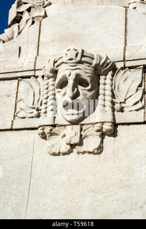 The stone relief of a classical greek mask on the Royal Dramatic Theatre in Nybroplan, Stockholm - Stock Photo