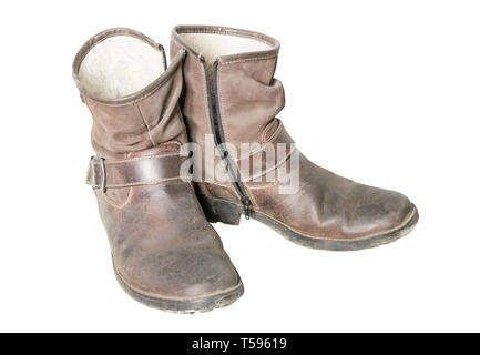 Stylish men's old shoes with high suede boot top - Stock Photo