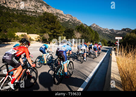 Woman's Cycle race through the La Safor mountains near Gandia Spain - Stock Photo