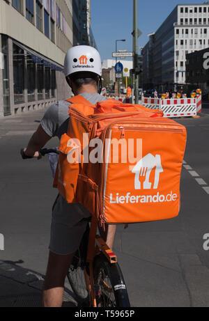 Bicyclist of delivery service Lieferando in Berlin