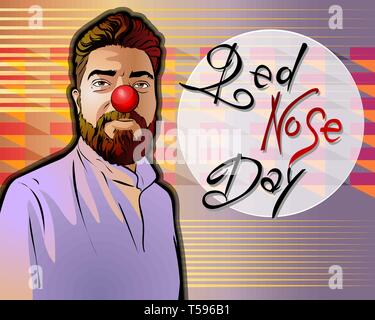 Vector illustration dedicated to the Red Nose Day. A smiling middle-aged man in a coat has a red nose on his face.Beautiful handwritten font. Could be - Stock Photo