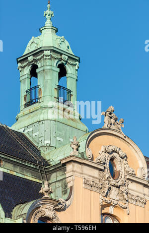 The ornate tower decorating the top of one of the largest buildings on Strandvägen, designed by G. Hagström and F. Ekman and completed in 1904. - Stock Photo
