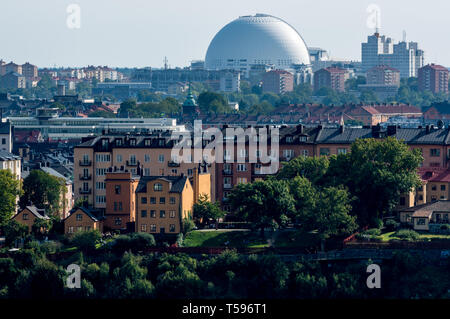 The Ericsson Globe indoor arena, Ivar Lo-Johansson Museum, Park and Garden and apartments and buildings of Södermalm in Stockholm - Stock Photo