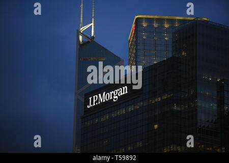 the jp morgan building in hong kong - Stock Photo