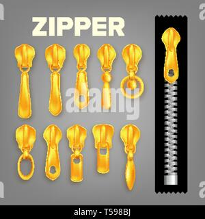 Set Of Golden Metal And Plastic Zipper Vector - Stock Photo